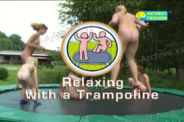 Shot of Relaxing with a Trampoline