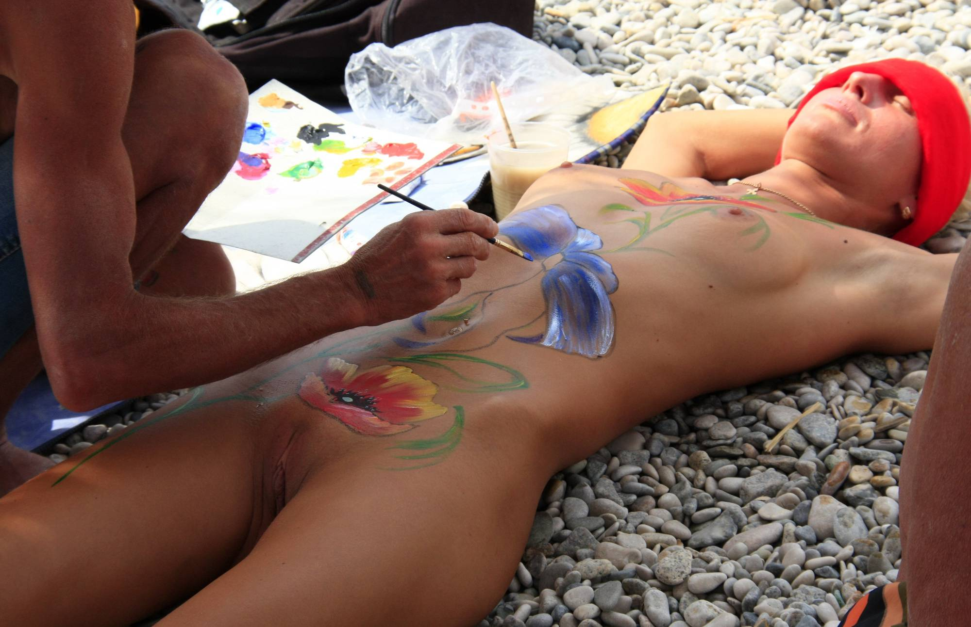 Nudist Pictures Beach Paints and Girl Rests - 1